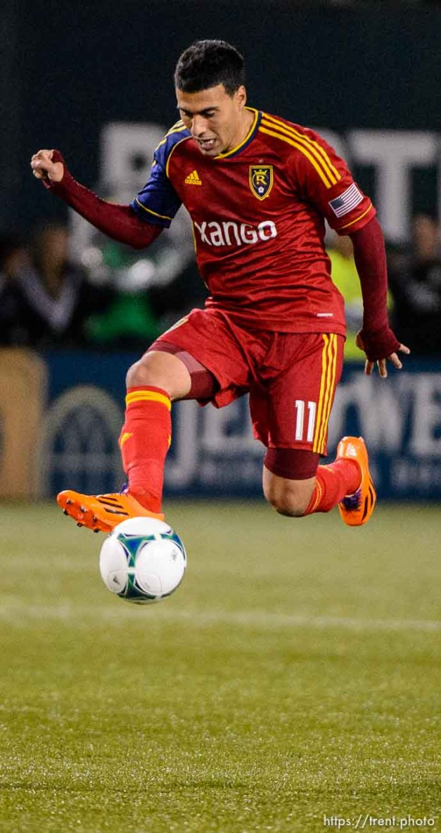 Trent Nelson | The Salt Lake Tribune Real Salt Lake's Javier Morales (11) with the ball as Real Salt Lake faces the Portland Timbers, MLS soccer Sunday November 24, 2013 in Portland.