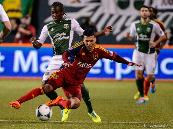 Trent Nelson | The Salt Lake Tribune Real Salt Lake's Javier Morales (11) takes the ball from Portland's Diego Chara (21) as Real Salt Lake faces the Portland Timbers, MLS soccer Sunday November 24, 2013 in Portland.