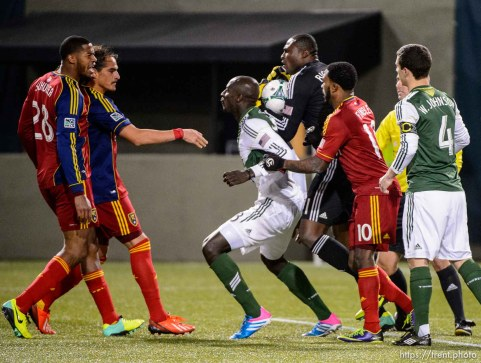 Trent Nelson | The Salt Lake Tribune Players push and shove each other after Real Salt Lake's Chris Schuler (28) collided with Portland's Donovan Ricketts (1), as Real Salt Lake faces the Portland Timbers, MLS soccer Sunday November 24, 2013 in Portland.