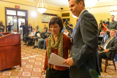 Trent Nelson | The Salt Lake Tribune Utah Attorney General John Swallow and his wife Suzanne leave a press conference after announcing his resignation, Thursday November 21, 2013 in Salt Lake City.