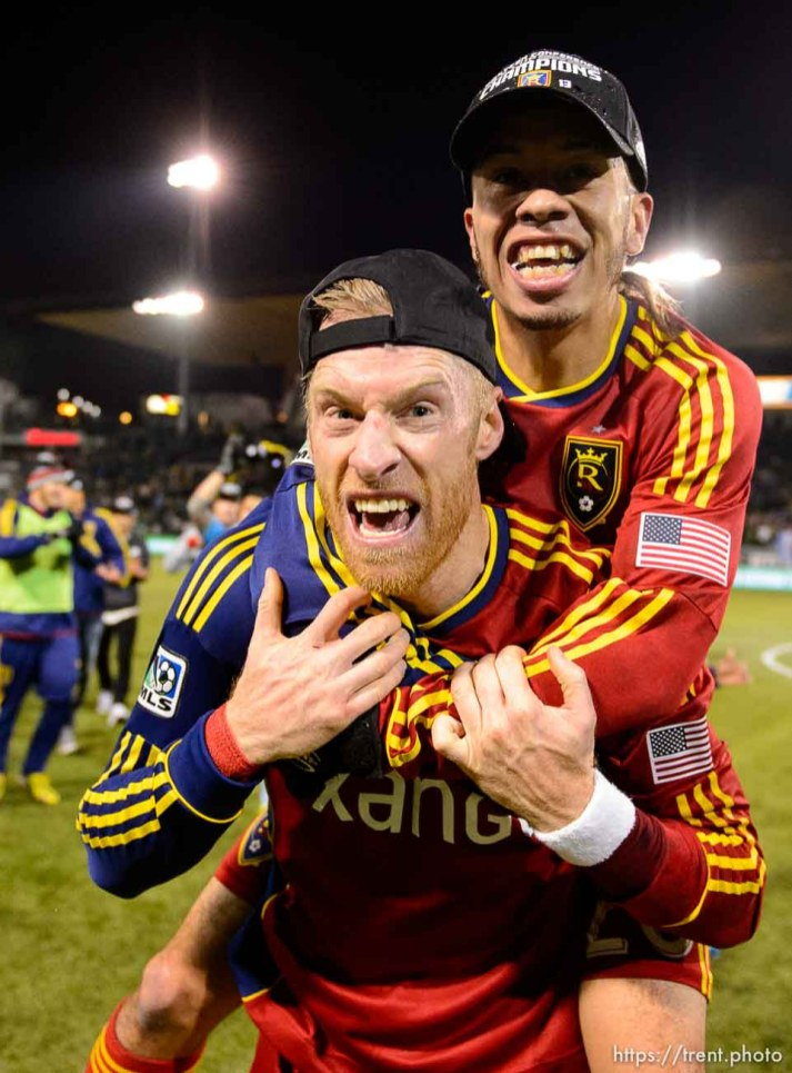 Trent Nelson | The Salt Lake Tribune Real Salt Lake's Nat Borchers (6) and Sebastian Velasquez (26) celebrate the win as Real Salt Lake faces the Portland Timbers, MLS soccer Sunday November 24, 2013 in Portland.