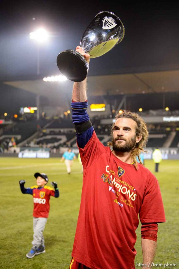 Trent Nelson | The Salt Lake Tribune Real Salt Lake's Kyle Beckerman (5) holds aloft the trophy after Real Salt Lake defeated the Portland Timbers, MLS soccer Sunday November 24, 2013 in Portland.