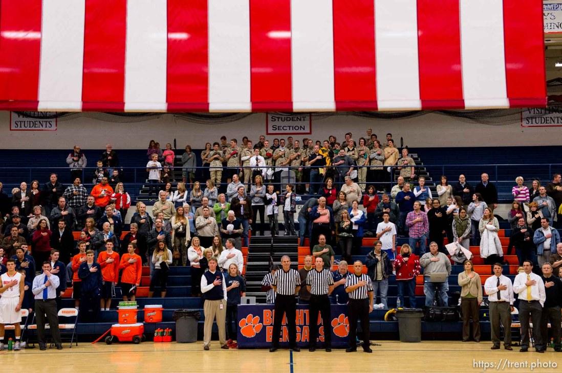 Trent Nelson | The Salt Lake Tribune national anthem, as Brighton hosts Davis High School, boys basketball in Sandy, Wednesday December 4, 2013.