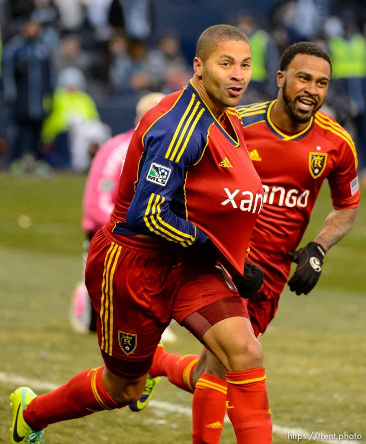 Trent Nelson | The Salt Lake Tribune RSL's Alvaro Saborio celebrates his goal as Real Salt Lake faces Sporting KC in the MLS Cup Final at Sporting Park in Kansas City, Saturday December 7, 2013.