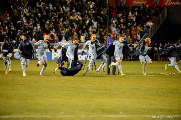 Trent Nelson | The Salt Lake Tribune Sporting KC players celebrate their championship as Real Salt Lake faces Sporting KC in the MLS Cup Final at Sporting Park in Kansas City, Saturday December 7, 2013.