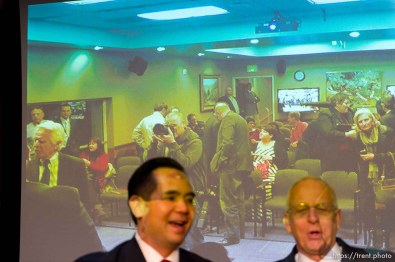 Trent Nelson | The Salt Lake Tribune trent nelson on screen in background. Scott Burns, Brian Tarbet, Bret Rawson, Sean Reyes, Michelle Mumford, Michael J. Wilkins and Robert Smith are candidates to become the next Utah Attorney General after John Swallow's resignation. They participated in their only debate before the Saturday special election by the State Central Committee. The committee sends the top three to the governor who chooses the new Attorney General to serve until after the Nov. 2014 election. Wednesday December 11, 2013 in Salt Lake City.