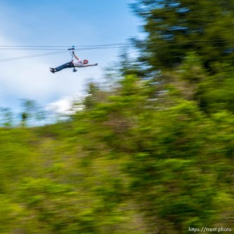 Trent Nelson | The Salt Lake Tribune A rider takes flight at Max Zipline, in Provo Canyon, Saturday May 31, 2014.