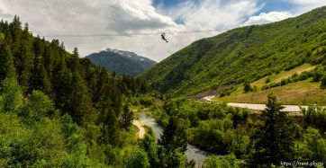 Trent Nelson | The Salt Lake Tribune Benjamin Bolton takes a ride above Provo Canyon at Max Zipline, Saturday May 31, 2014.