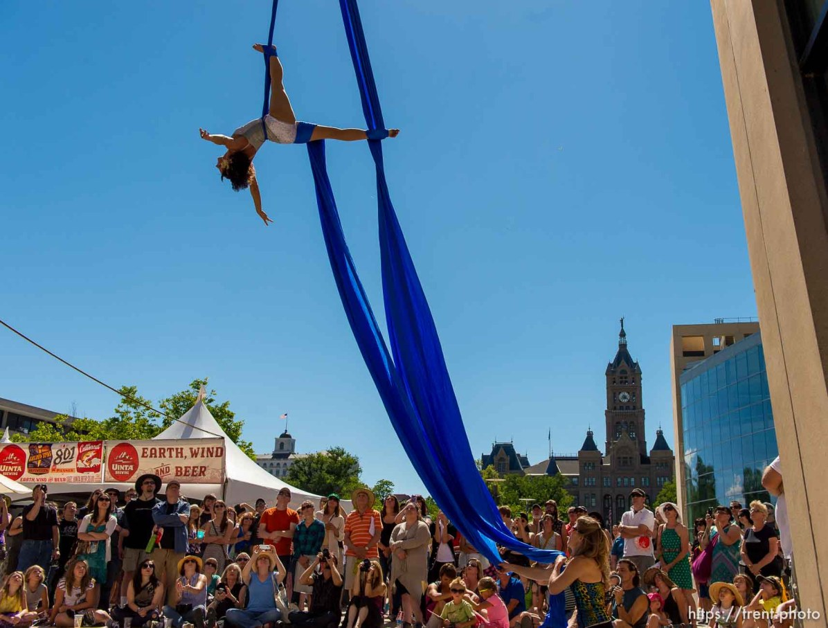 Trent Nelson | The Salt Lake Tribune Rebecca Cleveland of Aerial Arts of Utah performs an aerial silk routine at the 2014 Utah Arts Festival in Salt Lake City, Saturday June 28, 2014. If you haven't made it down there yet and plan to, Sunday's your last chance. Admission is $12 at the gate, free for children 12 and under.