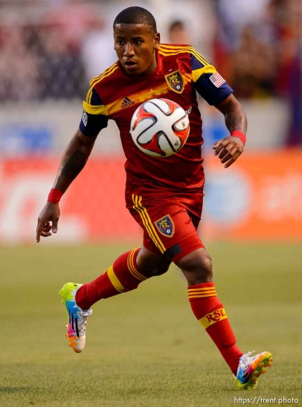 Trent Nelson | The Salt Lake Tribune Real Salt Lake's Joao Plata (8) with the ball as Real Salt Lake hosts Vancouver Whitecaps FC at Rio Tinto Stadium in Sandy, Saturday July 19, 2014.