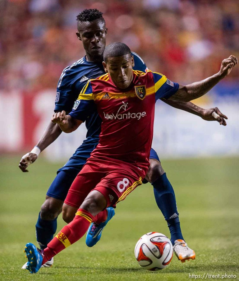 Trent Nelson | The Salt Lake Tribune Real Salt Lake's Joao Plata (8) with the ball, as Real Salt Lake hosts Vancouver Whitecaps FC at Rio Tinto Stadium in Sandy, Saturday July 19, 2014.