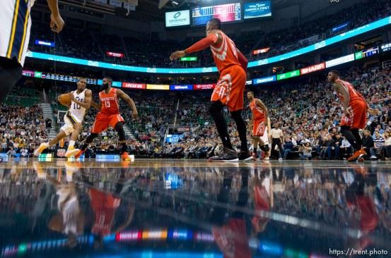 Trent Nelson | The Salt Lake Tribune Utah Jazz guard Alec Burks (10) drives to the basket as the Utah Jazz host the Houston Rockets, NBA basketball at EnergySolutions Arena in Salt Lake City, Wednesday October 29, 2014.