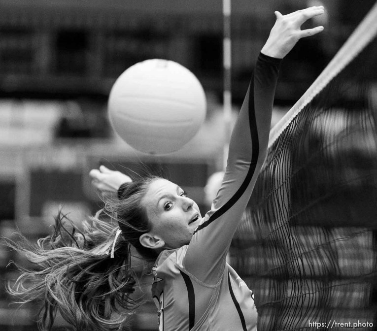 Trent Nelson | The Salt Lake Tribune Piute's Paige Jessen (10) looks to the ball as Panguitch defeats Piute High School in the championship match of the State 1A Volleyball Tournament at Utah Valley University in Provo, Saturday November 1, 2014.