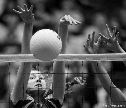 Trent Nelson | The Salt Lake Tribune Panguitch's Darri Frandsen (10) makes a block as Panguitch faces Piute High School in the championship match of the State 1A Volleyball Tournament at Utah Valley University in Provo, Saturday November 1, 2014.