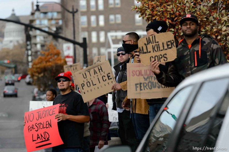 Trent Nelson | The Salt Lake Tribune as approximately 350 people turned out for a rally to protest police brutality in Salt Lake City, Saturday November 29, 2014.