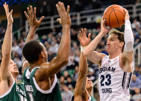 Trent Nelson | The Salt Lake Tribune Brigham Young Cougars guard Skyler Halford (23) faces a row of Hawaii defenders as BYU faces Hawaii, college basketball at EnergySolutions Arena in Salt Lake City, Saturday December 6, 2014.