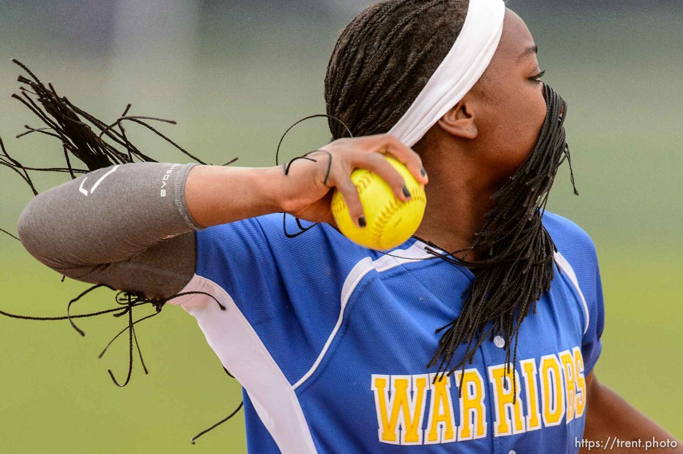 Trent Nelson | The Salt Lake Tribune Taylorsville's Jazmyn Rollin throws the ball during a 5A softball tournament second-round game between defending champion Lehi and No. 1 seed Taylorsville, Thursday May 14, 2015.