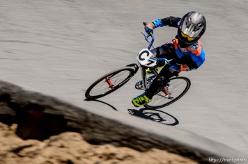 Trent Nelson | The Salt Lake Tribune 7-year-old Declan Hurley races at the U.S. BMX National Series at Rad Canyon BMX in South Jordan, Saturday June 13, 2015.