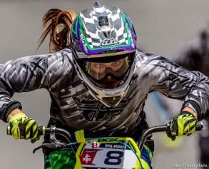 Trent Nelson | The Salt Lake Tribune Dyllan Calwell races at the U.S. BMX National Series at Rad Canyon BMX in South Jordan, Saturday June 13, 2015.