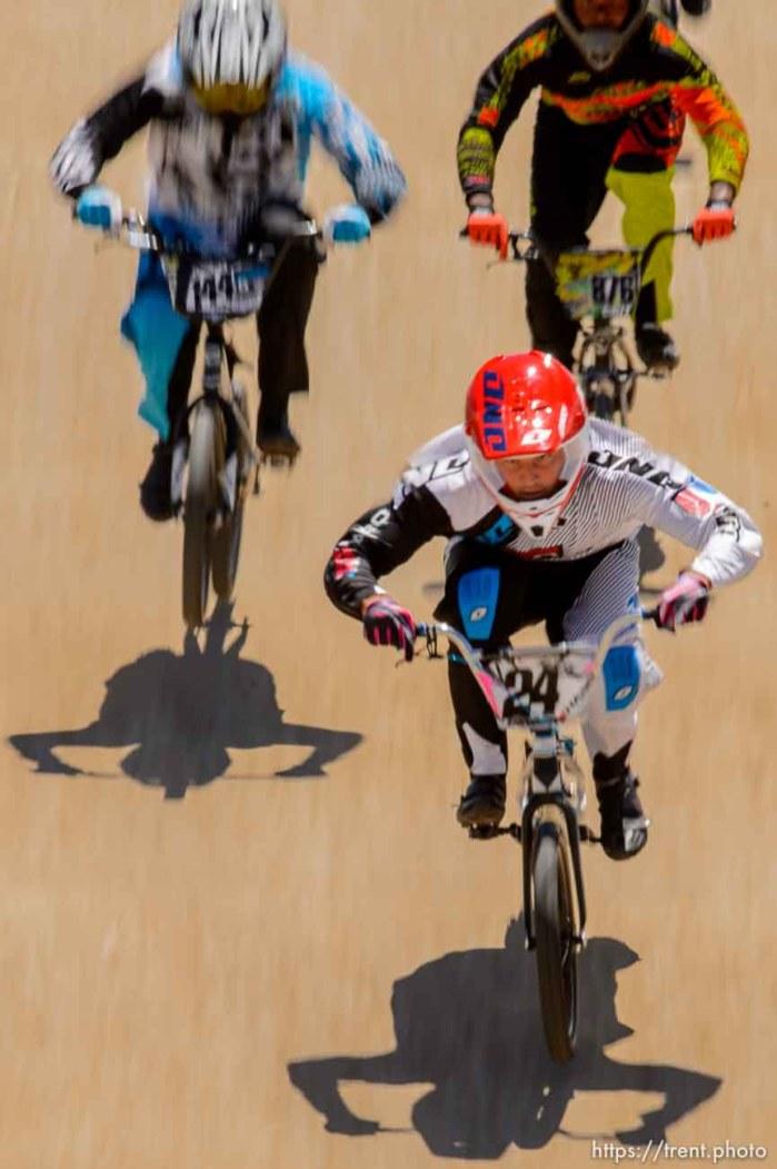 Trent Nelson | The Salt Lake Tribune Corben Sharrah leads in the elite classat the U.S. BMX National Series at Rad Canyon BMX in South Jordan, Saturday June 13, 2015.