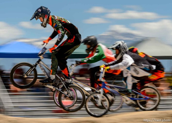 Trent Nelson | The Salt Lake Tribune Riders in the expert class at the U.S. BMX National Series at Rad Canyon BMX in South Jordan, Saturday June 13, 2015.