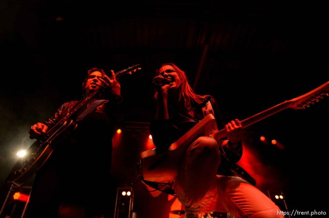 Trent Nelson | The Salt Lake Tribune Joe Hottinger and Lzzy Hale on stage as Halestorm performs at Saltair, Wednesday June 3, 2015.