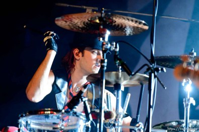 Trent Nelson | The Salt Lake Tribune Drummer Arejay Hale as Halestorm performs at Saltair, Wednesday June 3, 2015.