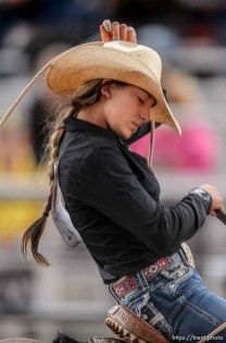 Trent Nelson | The Salt Lake Tribune Kaytlyn Miller competes in Breakaway Roping at the Utah High School Rodeo Association state championships in Heber, Saturday June 6, 2015.