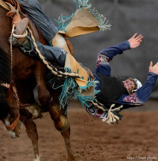 Trent Nelson | The Salt Lake Tribune Pake Rockhill competes in Saddle Bronc at the Utah High School Rodeo Association state championships in Heber, Saturday June 6, 2015.