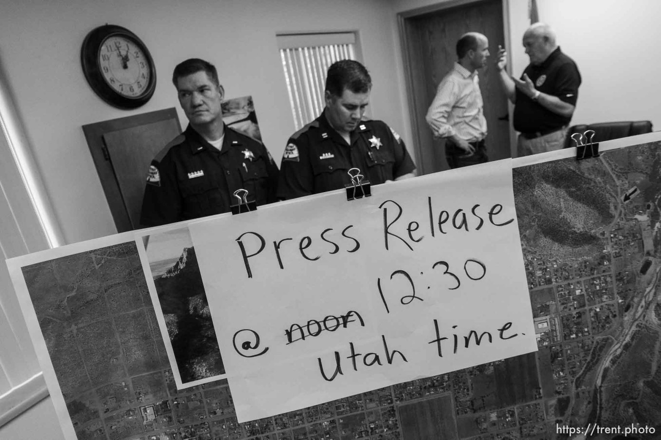 Trent Nelson | The Salt Lake Tribune Lt. Governor Spencer Cox in white, flash flood press conference at colorado city hall, Tuesday September 15, 2015. Eight people had died and five remained missing Tuesday morning, the day after an SUV and a van were washed off a road during a flash flood in this polygamous Utah-Arizona border community