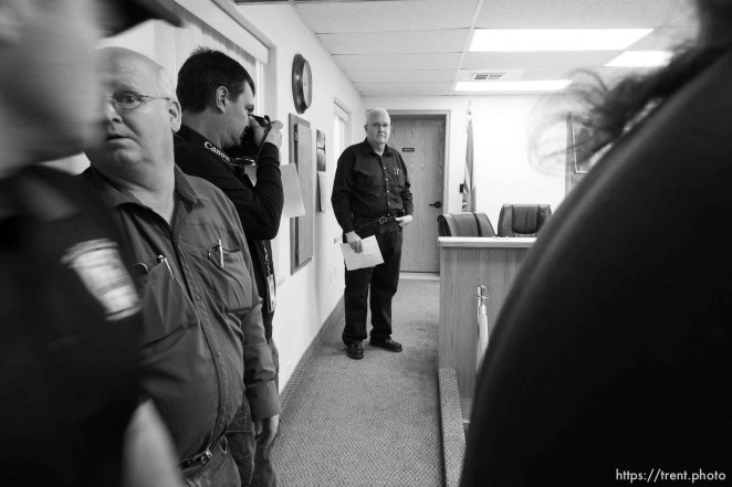 Trent Nelson | The Salt Lake Tribune Hildale Mayor Philip Barlow speaks at a press conference regarding the continued search after a flash flood. Colorado City, Wednesday September 16, 2015. city manager raymond barlow at left. scott winterton