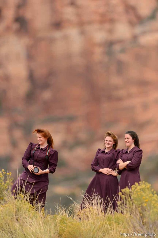 Trent Nelson | The Salt Lake Tribune FLDS women at a memorial for the 13 (and 1 still missing) victims of a September 14th flash flood. The memorial was held in Maxwell Park in Hildale, Saturday September 26, 2015.