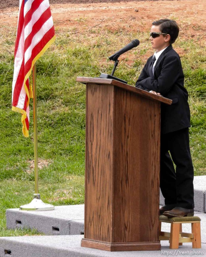 Trent Nelson | The Salt Lake Tribune Joseph Jessop, Jr., speaks at a memorial for the 13 (and 1 still missing) victims of a September 14th flash flood. The memorial was held in Maxwell Park in Hildale, Saturday September 26, 2015. Jessop is the only survivor of the flood.