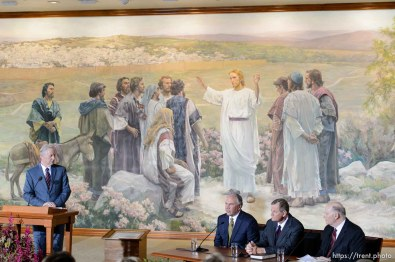 Trent Nelson   The Salt Lake Tribune New LDS apostles, Ronald A. Rasband, Gary E. Stevenson, and Dale G. Renlund, are introduced at a press conference during the 185th Semiannual General Conference of the LDS Church in Salt Lake City, Saturday October 3, 2015. Mike Otterson at left