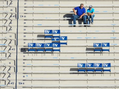 Trent Nelson | The Salt Lake Tribune Early-arriving fans waiting for the game to start as BYU hosts East Carolina, college football at LaVell Edwards Stadium in Provo, Saturday October 10, 2015.