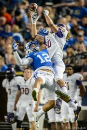 Trent Nelson | The Salt Lake Tribune Brigham Young Cougars defensive back Kai Nacua (12) tries to defend a pass to East Carolina Pirates tight end Bryce Williams (80) as BYU hosts East Carolina, college football at LaVell Edwards Stadium in Provo, Saturday October 10, 2015.