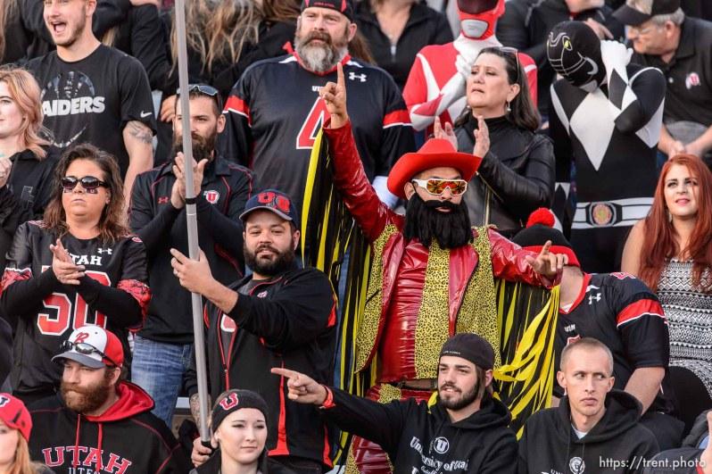 "Trent Nelson | The Salt Lake Tribune A fan dressed up as Randy ""Macho Man"" Savage as the University of Utah hosts Oregon State on Halloween, NCAA football at Rice-Eccles Stadium in Salt Lake City, Saturday October 31, 2015."