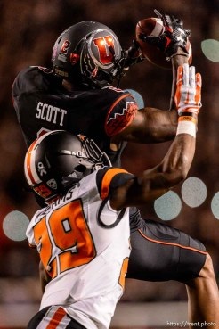 Trent Nelson | The Salt Lake Tribune Utah Utes wide receiver Kenneth Scott (2) pulls in a pass over Oregon State Beavers cornerback Dwayne Williams (29) as the University of Utah hosts Oregon State, NCAA football at Rice-Eccles Stadium in Salt Lake City, Saturday October 31, 2015.