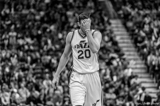 Trent Nelson | The Salt Lake Tribune Utah Jazz forward Gordon Hayward (20) as the Utah Jazz host the Toronto Raptors, NBA basketball at Vivint Smart Home Arena in Salt Lake City, Wednesday November 18, 2015.