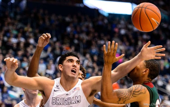 Trent Nelson | The Salt Lake Tribune Brigham Young Cougars center Corbin Kaufusi (44) looks for the rebound as BYU hosts Mississippi Valley State, NCAA basketball at the Marriott Center in Provo, Wednesday November 25, 2015. Mississippi Valley State Delta Devils forward Michael Matlock (22) at right.