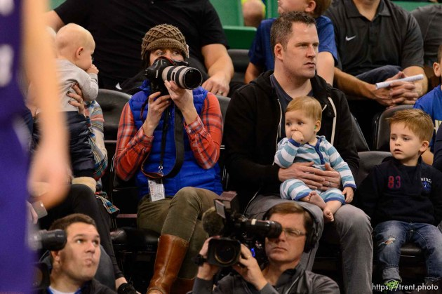 Trent Nelson | The Salt Lake Tribune Kristin Murphy with babies, as BYU faces Weber State, NCAA basketball at Vivant Smart Home Arena in Salt Lake City, Saturday December 5, 2015.
