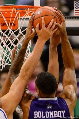 Trent Nelson   The Salt Lake Tribune Weber State's Joel Bolomboy pulls down a rebound as BYU faces Weber State, NCAA basketball at Vivant Smart Home Arena in Salt Lake City, Saturday December 5, 2015.