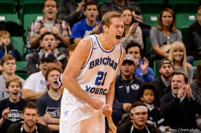 Trent Nelson   The Salt Lake Tribune BYU's Kyle Davis lets out a cougar roar as BYU faces Weber State, NCAA basketball at Vivant Smart Home Arena in Salt Lake City, Saturday December 5, 2015.