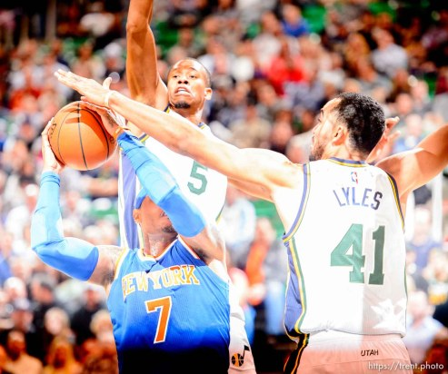 Trent Nelson | The Salt Lake Tribune Utah Jazz guard Rodney Hood (5) and Utah Jazz forward Trey Lyles (41) defend New York Knicks forward Carmelo Anthony (7) as the Utah Jazz host the New York Knicks, NBA basketball at Vivint Smart Home Arena, Wednesday December 9, 2015.