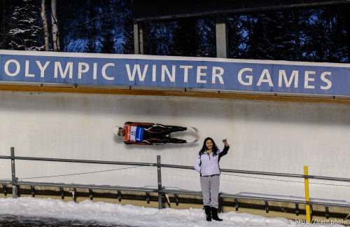 Trent Nelson | The Salt Lake Tribune A fan takes a selfie as Latvia's Inars Kivienieks slides by, competing in the Viessmann Luge World Cup at the Utah Olympic Park, Saturday December 12, 2015.