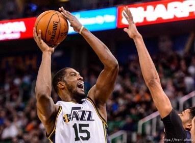Trent Nelson | The Salt Lake Tribune Utah Jazz forward Derrick Favors (15) puts up a shot as the Utah Jazz host the New Orleans Pelicans, NBA basketball in Salt Lake City, Wednesday December 16, 2015.