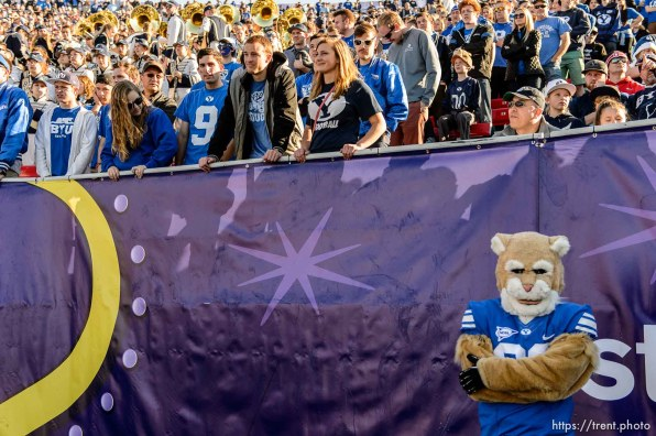 Trent Nelson | The Salt Lake Tribune BYU fans and school mascot Cosmo look on as Utah holds a 35-0 lead over BYU in the Royal Purple Las Vegas Bowl, NCAA football at Sam Boyd Stadium in Las Vegas, Saturday December 19, 2015.