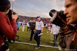 Trent Nelson | The Salt Lake Tribune BYU coach Bronco Mendenhall walks off the field following as Utah defeats BYU 35-28 in the Royal Purple Las Vegas Bowl, NCAA football at Sam Boyd Stadium in Las Vegas, Saturday December 19, 2015. Ravell Call at ight.