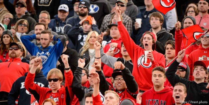 Trent Nelson | The Salt Lake Tribune BYU and Utah fans react during the third quarter as Utah faces BYU in the Royal Purple Las Vegas Bowl, NCAA football at Sam Boyd Stadium in Las Vegas, Saturday December 19, 2015.