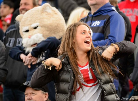 Trent Nelson | The Salt Lake Tribune A Utah fan does the chicken dance in the fourth quarter as Utah faces BYU in the Royal Purple Las Vegas Bowl, NCAA football at Sam Boyd Stadium in Las Vegas, Saturday December 19, 2015.